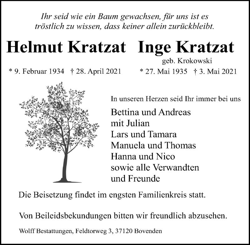 Traueranzeige für Helmut Kratzat vom 06.05.2021 aus Göttinger Tageblatt