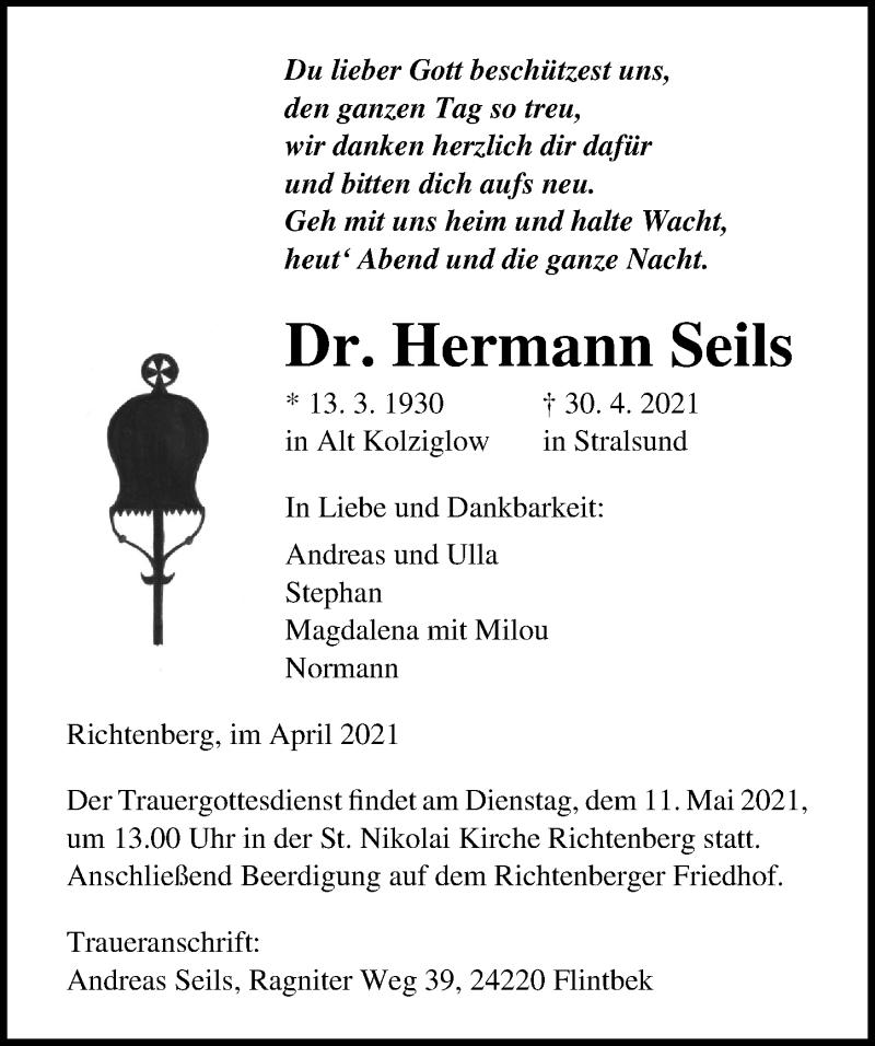 Traueranzeige für Hermann Seils vom 05.05.2021 aus Ostsee-Zeitung GmbH