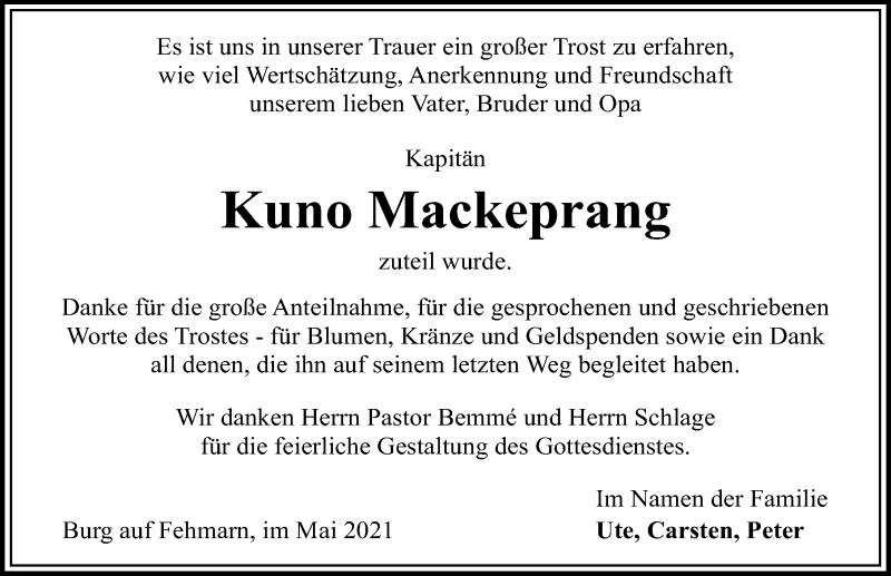 Traueranzeige für Kuno Mackeprang vom 08.05.2021 aus Lübecker Nachrichten