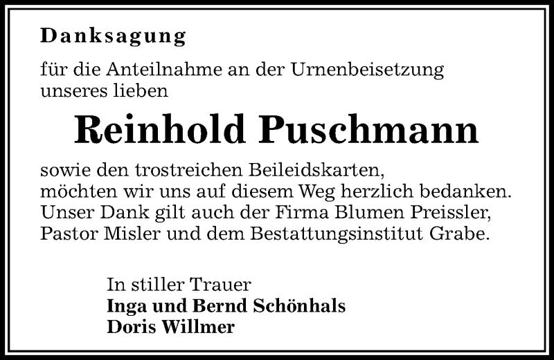 Traueranzeige für Reinhold Puschmann vom 08.05.2021 aus Göttinger Tageblatt