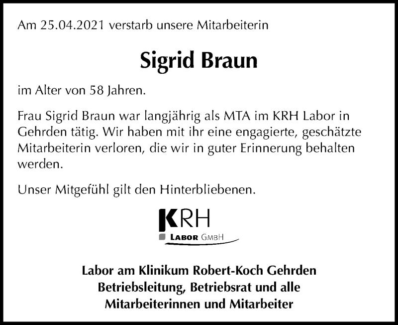 Traueranzeige für Sigrid Braun vom 04.05.2021 aus Hannoversche Allgemeine Zeitung/Neue Presse