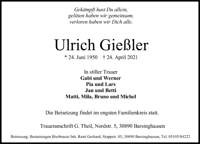 Traueranzeige für Ulrich Gießler vom 05.05.2021 aus Hannoversche Allgemeine Zeitung/Neue Presse