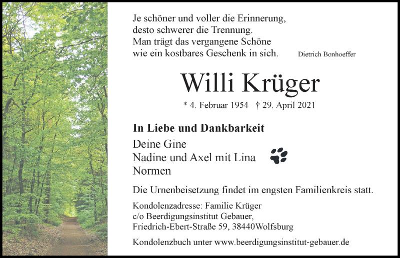 Traueranzeige für Willi Krüger vom 08.05.2021 aus Aller Zeitung