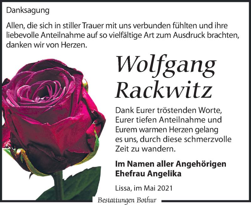 Traueranzeige für Wolfgang Rackwitz vom 08.05.2021 aus Leipziger Volkszeitung