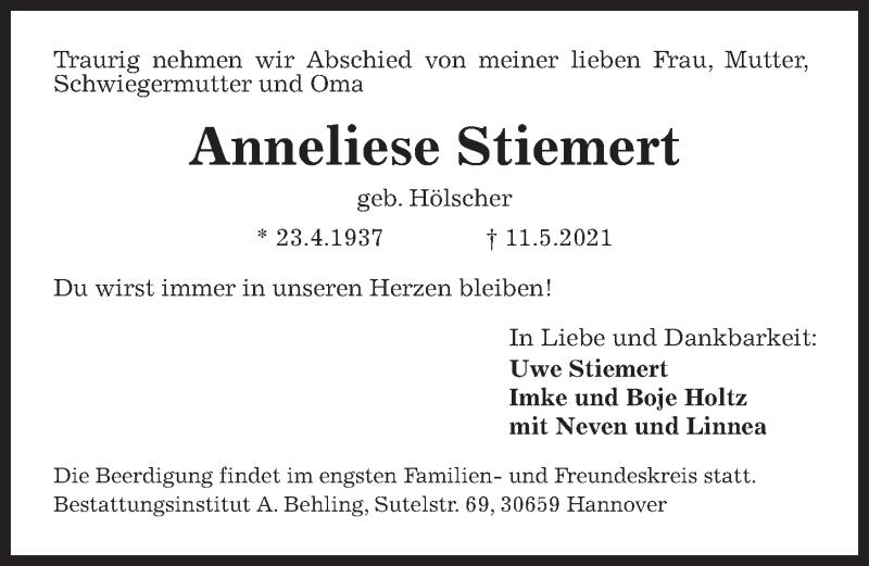 Traueranzeige für Anneliese Stiemert vom 15.05.2021 aus Hannoversche Allgemeine Zeitung/Neue Presse