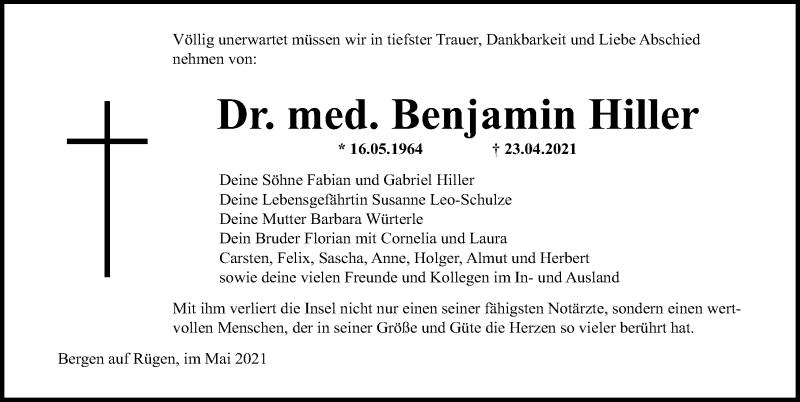 Traueranzeige für Benjamin Hiller vom 15.05.2021 aus Ostsee-Zeitung GmbH