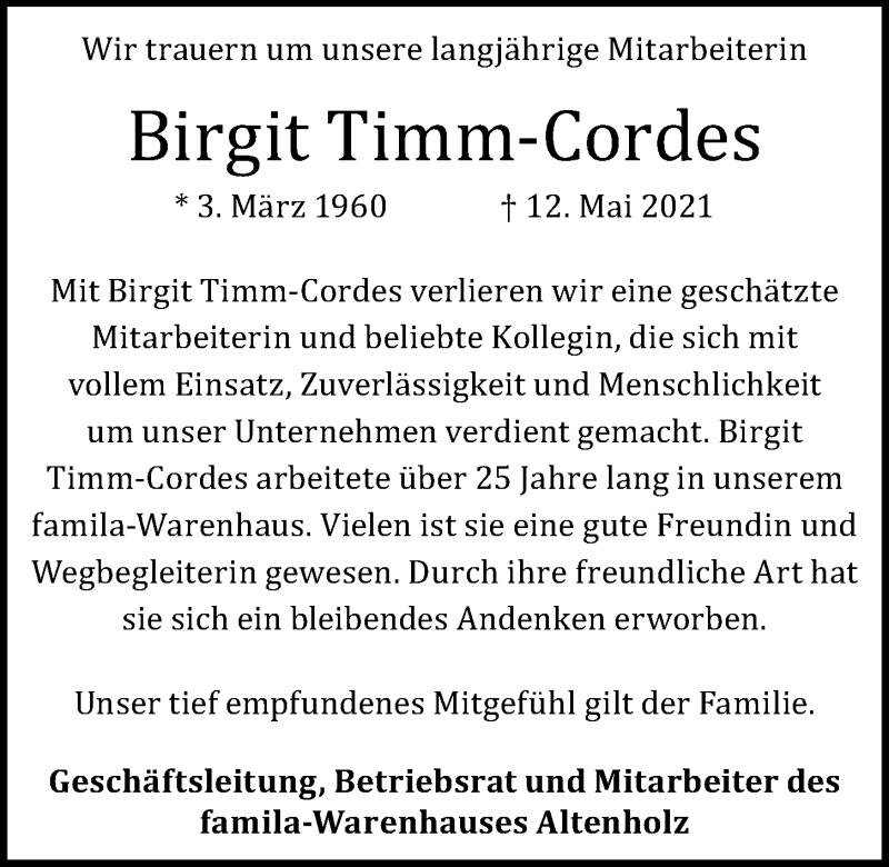 Traueranzeige für Birgit Timm-Cordes vom 29.05.2021 aus Kieler Nachrichten