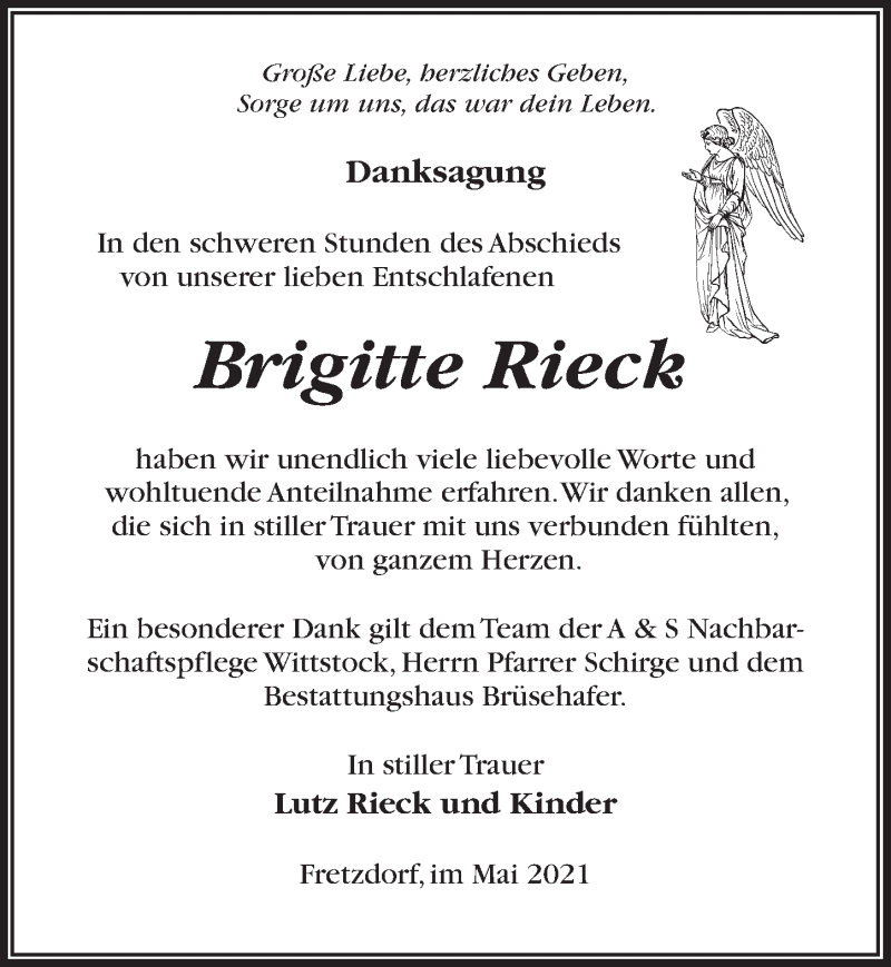 Traueranzeige für Brigitte Rieck vom 15.05.2021 aus Märkischen Allgemeine Zeitung
