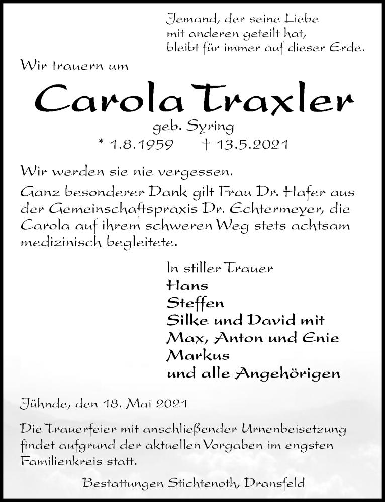 Traueranzeige für Carola Traxler vom 18.05.2021 aus Göttinger Tageblatt