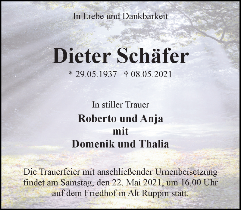 Traueranzeige für Dieter Schäfer vom 11.05.2021 aus Märkischen Allgemeine Zeitung