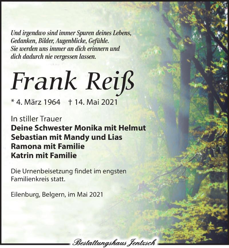 Traueranzeige für Frank Reiß vom 22.05.2021 aus Torgauer Zeitung