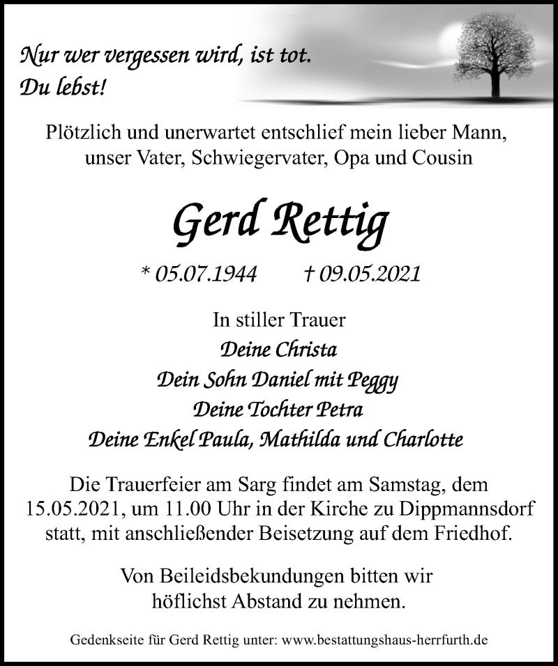 Traueranzeige für Gerd Rettig vom 12.05.2021 aus Märkischen Allgemeine Zeitung