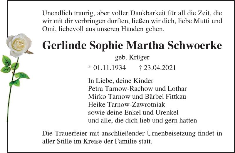 Traueranzeige für Gerlinde Sophie Martha Schwoerke vom 15.05.2021 aus Ostsee-Zeitung GmbH