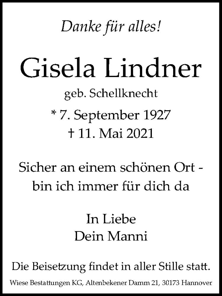 Traueranzeige für Gisela Lindner vom 15.05.2021 aus Hannoversche Allgemeine Zeitung/Neue Presse