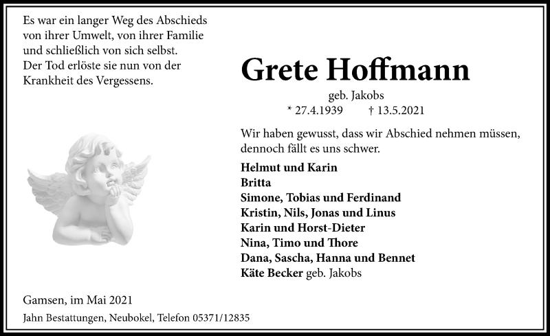 Traueranzeige für Grete Hoffmann vom 18.05.2021 aus Aller Zeitung