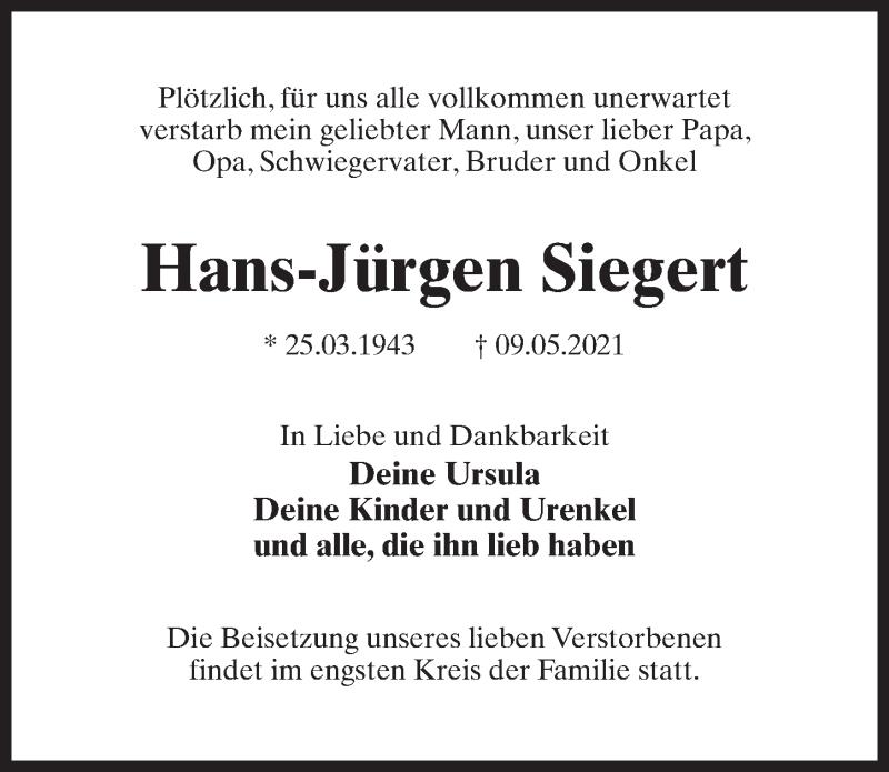 Traueranzeige für Hans-Jürgen Siegert vom 15.05.2021 aus Märkischen Allgemeine Zeitung