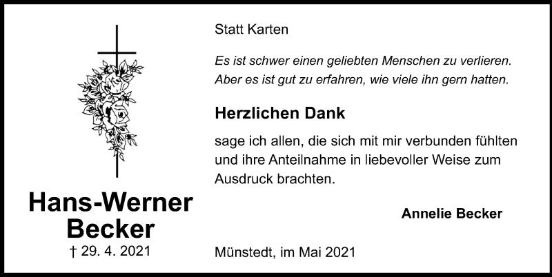 Traueranzeige für Hans-Werner Becker vom 29.05.2021 aus Peiner Allgemeine Zeitung