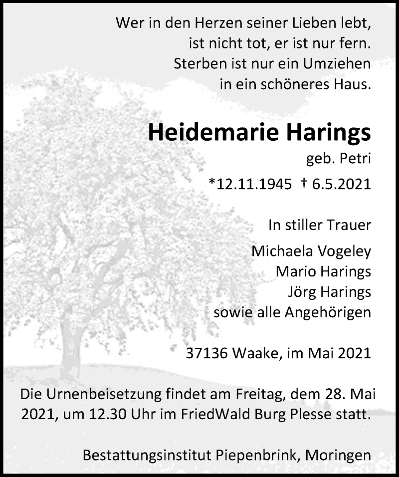 Traueranzeige für Heidemarie Harings vom 22.05.2021 aus Göttinger Tageblatt