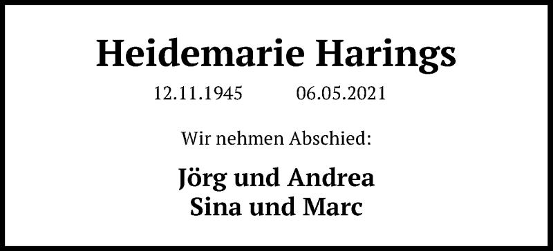 Traueranzeige für Heidemarie Harings vom 15.05.2021 aus Göttinger Tageblatt