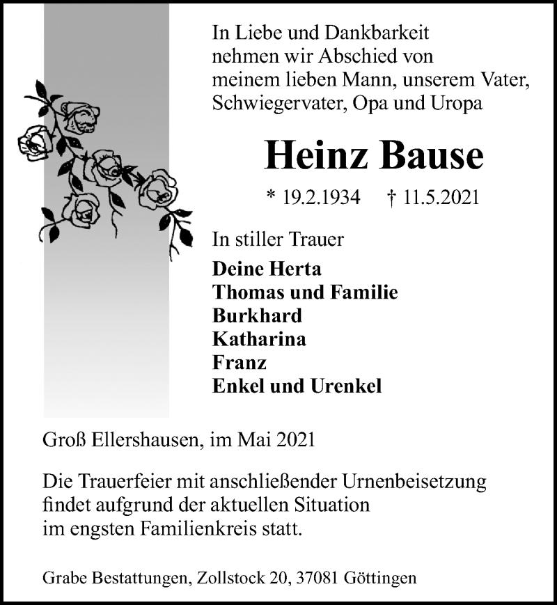 Traueranzeige von  Heinz Bause