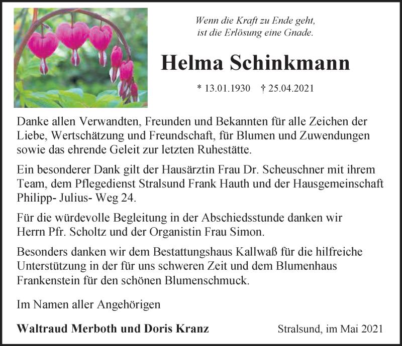 Traueranzeige für Helma Schinkmann vom 29.05.2021 aus Ostsee-Zeitung GmbH