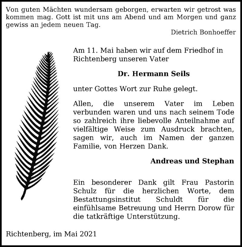 Traueranzeige für Hermann Seils vom 22.05.2021 aus Ostsee-Zeitung GmbH