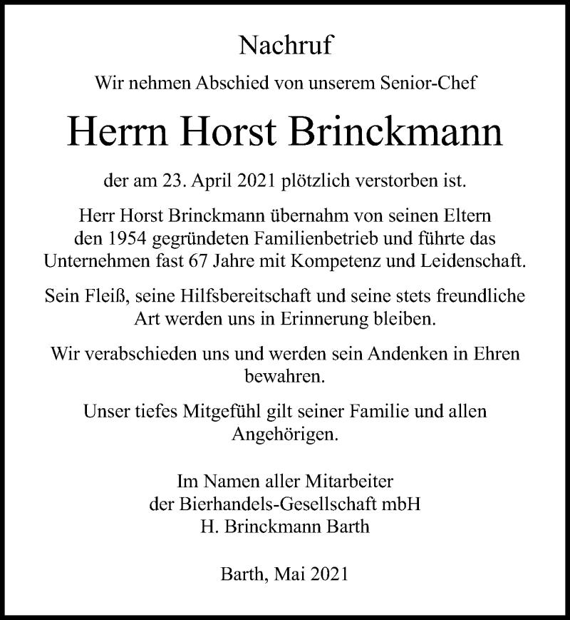 Traueranzeige für Horst Brinckmann vom 15.05.2021 aus Ostsee-Zeitung GmbH