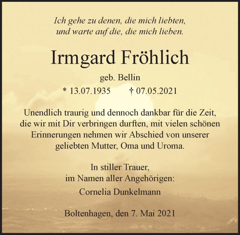 Traueranzeige für Irmgard Fröhlich vom 18.05.2021 aus Ostsee-Zeitung GmbH