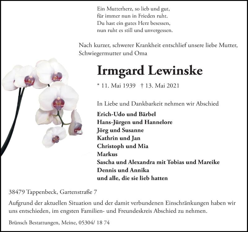 Traueranzeige für Irmgard Lewinske vom 18.05.2021 aus Aller Zeitung