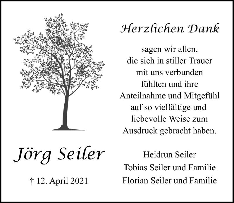 Traueranzeige für Jörg Seiler vom 16.05.2021 aus Lübecker Nachrichten
