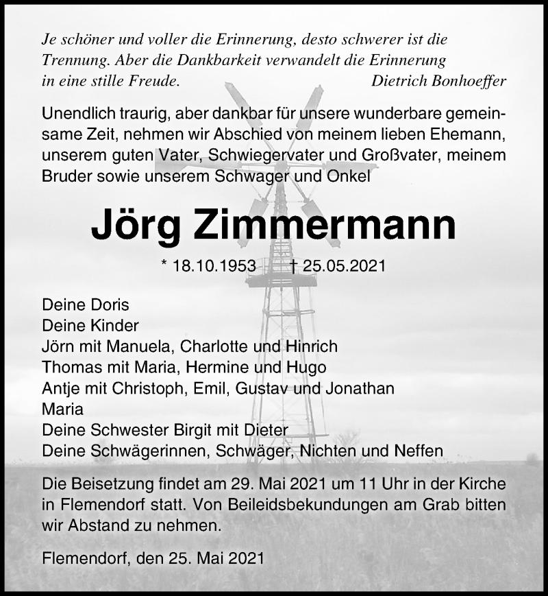Traueranzeige für Jörg Zimmermann vom 27.05.2021 aus Ostsee-Zeitung GmbH