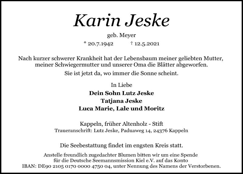 Traueranzeige von  Karin Jeske
