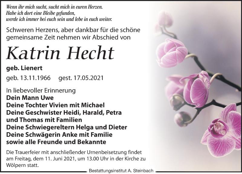 Traueranzeige für Katrin Hecht vom 22.05.2021 aus Leipziger Volkszeitung