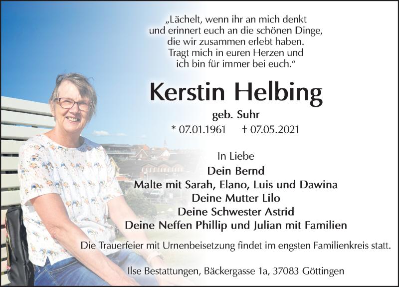 Traueranzeige für Kerstin Helbing vom 15.05.2021 aus Göttinger Tageblatt