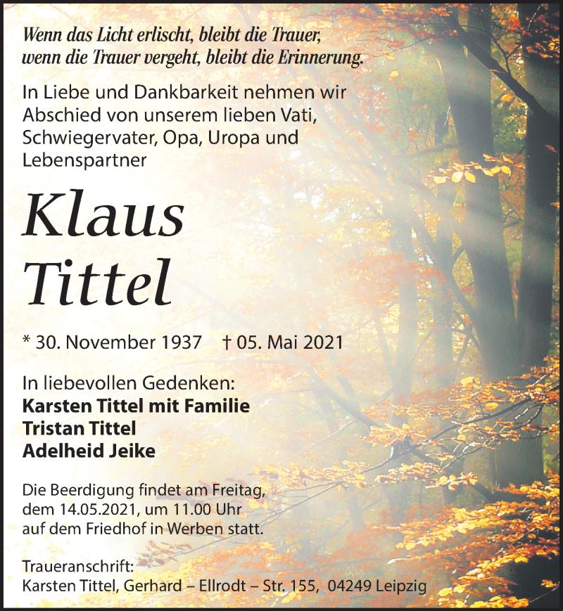 Traueranzeige für Klaus Tittel vom 11.05.2021 aus Leipziger Volkszeitung