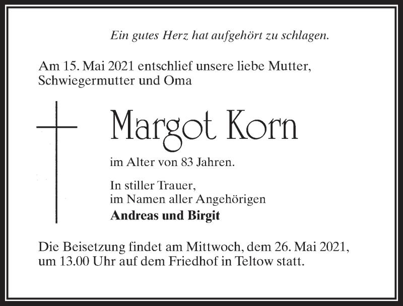 Traueranzeige für Margot Korn vom 22.05.2021 aus Märkischen Allgemeine Zeitung