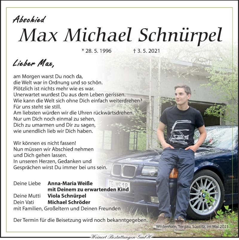 Traueranzeige für Max Michael Schnürpel vom 22.05.2021 aus Leipziger Volkszeitung