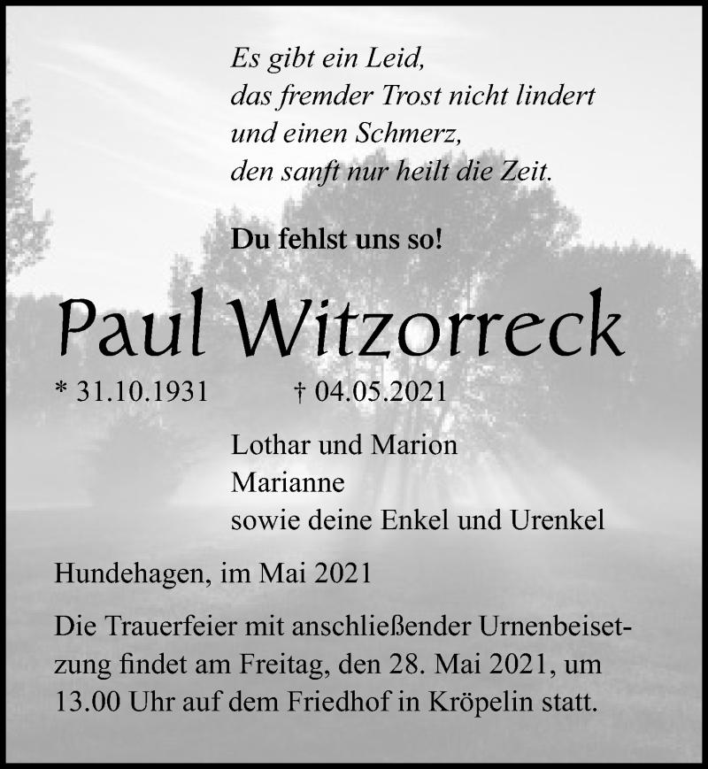 Traueranzeige für Paul Witzorreck vom 15.05.2021 aus Ostsee-Zeitung GmbH