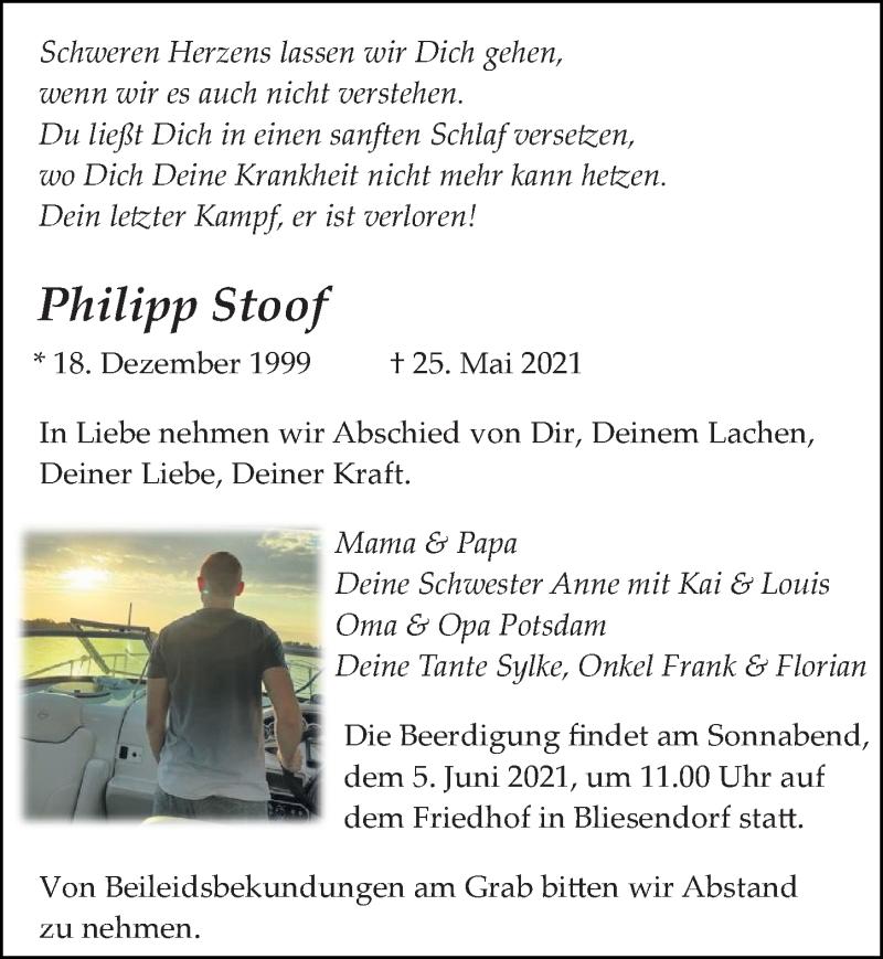 Traueranzeige für Philipp Stoof vom 29.05.2021 aus Märkischen Allgemeine Zeitung