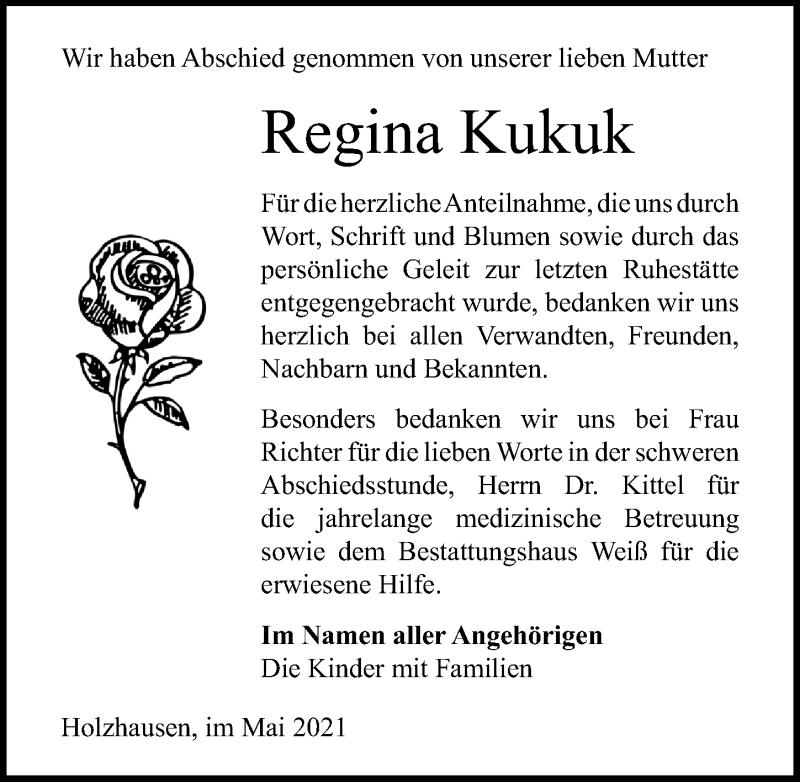 Traueranzeige für Regina Kukuk vom 15.05.2021 aus Märkischen Allgemeine Zeitung