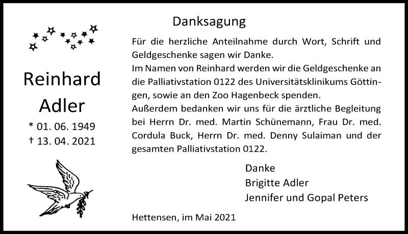 Traueranzeige für Reinhard Adler vom 15.05.2021 aus Göttinger Tageblatt