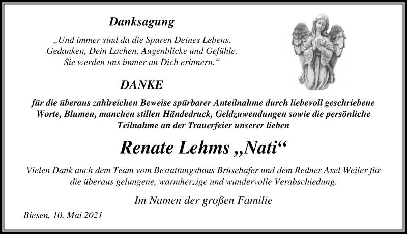 Traueranzeige für Renate Lehms vom 22.05.2021 aus Märkischen Allgemeine Zeitung