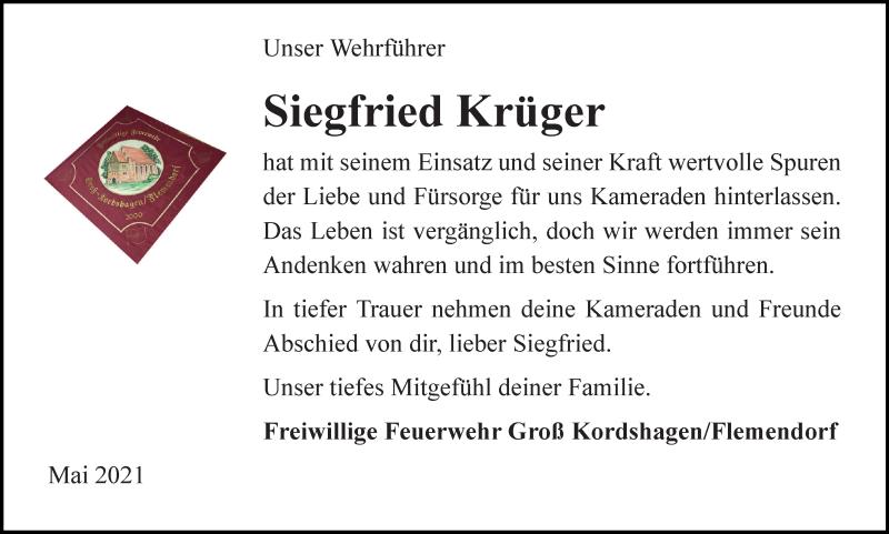 Traueranzeige für Siegfried Krüger vom 15.05.2021 aus Ostsee-Zeitung GmbH