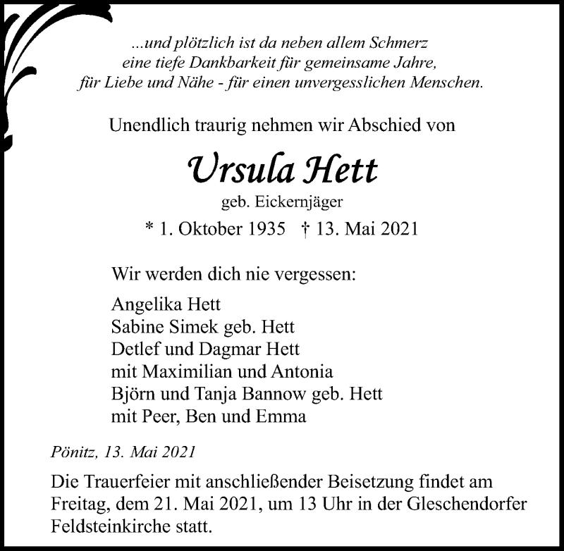 Traueranzeige von  Ursula Hett
