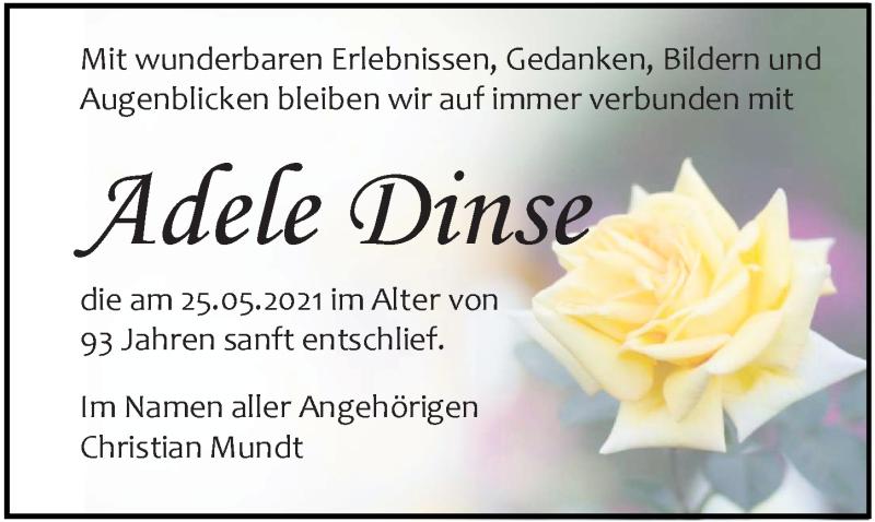 Traueranzeige für Adele Dinse vom 05.06.2021 aus Ostsee-Zeitung GmbH