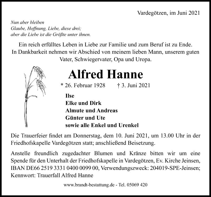 Traueranzeige für Alfred Hanne vom 05.06.2021 aus Hannoversche Allgemeine Zeitung/Neue Presse