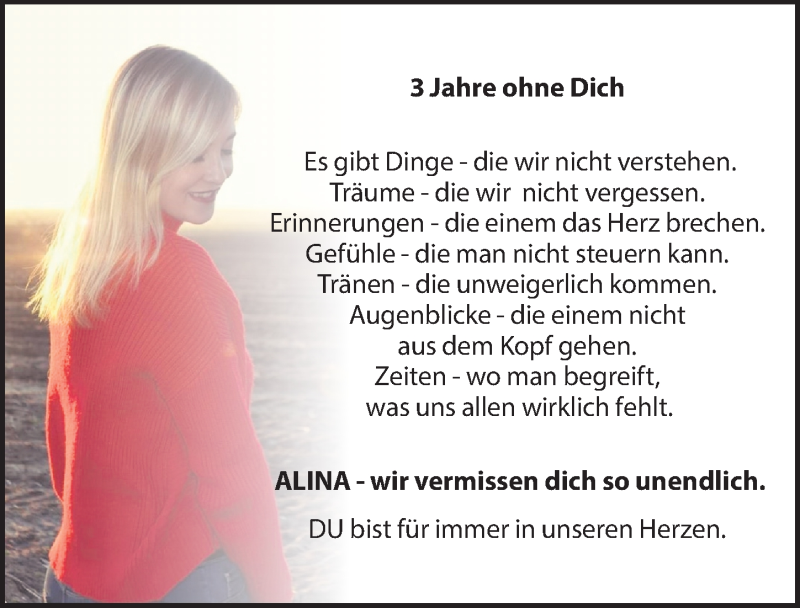 Traueranzeige für Alina  vom 10.06.2021 aus Leipziger Volkszeitung
