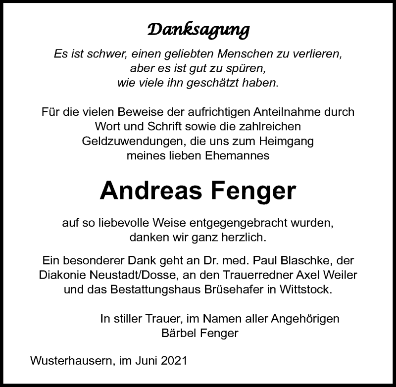 Traueranzeige für Andreas Fenger vom 26.06.2021 aus Märkischen Allgemeine Zeitung
