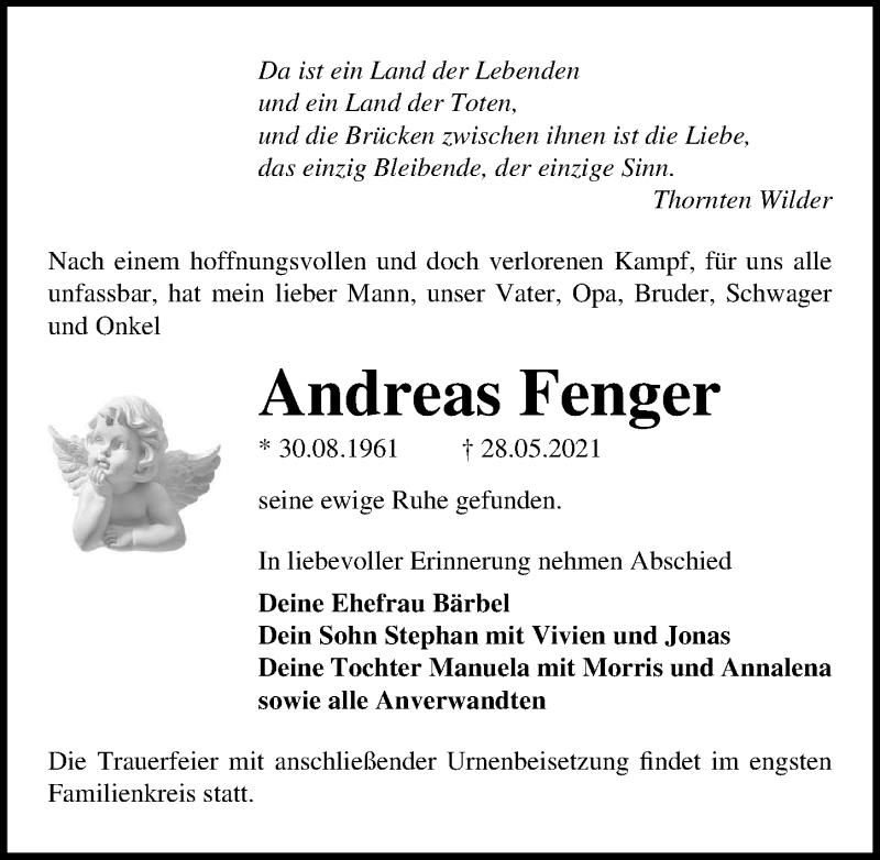 Traueranzeige für Andreas Fenger vom 05.06.2021 aus Märkischen Allgemeine Zeitung