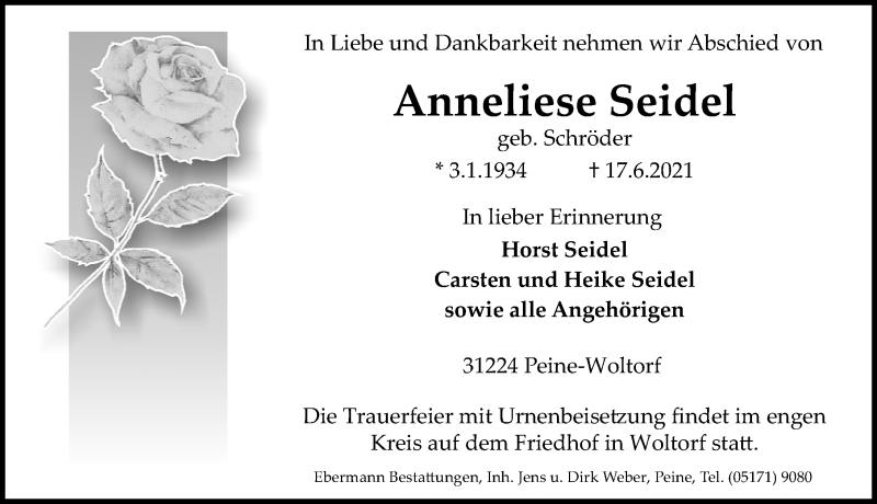 Traueranzeige für Anneliese Seidel vom 19.06.2021 aus Peiner Allgemeine Zeitung